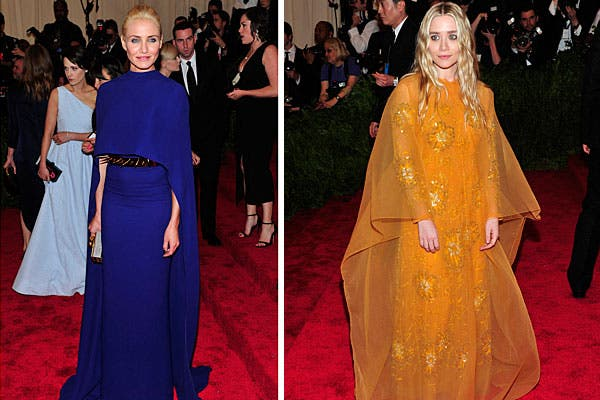 Looks con capas para Cameron Diaz, por Stella McCartney, y Ashley Olsen.  Foto:  AP, AFP y Reuters