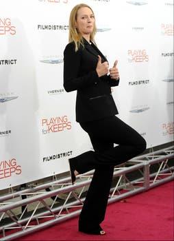 Uma Thurman, muy divertida en la premiere de Playing For Keeps, en Nueva York. Foto: AP