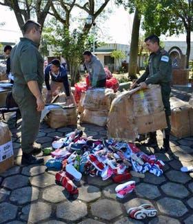 Fue incautado anteayer un cargamento de calzado en Ituzaingó, Corrientes