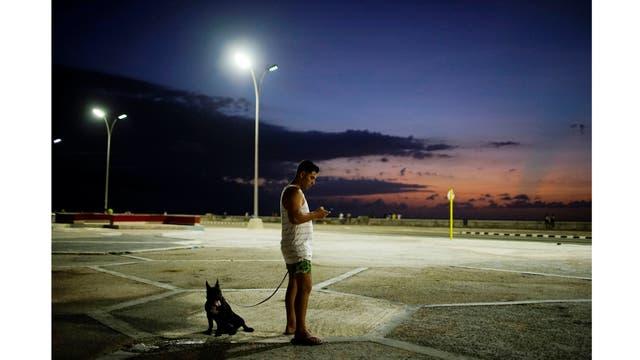 El doctor Alejandro Soto junto a su perro Coco utiliza su teléfono para conectarse a internet en La Habana