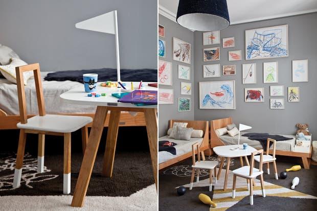 En el centro de la habitación, mesita ''''Nido'''' con estructura de madera patagónica maciza con banderita y tabla en laca poliuretana blanca ($2.241) y sillitas del mismo material con botitas y apoyo en laca ($1.300)..