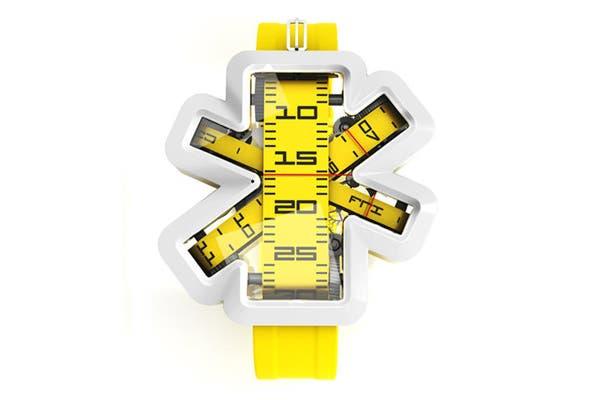 Un reloj con cinta métrica incluída, el regalo ideal para arquitectos e ingenieros.