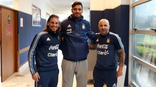 Chiquito Romero con Sampaoli y Beccacece