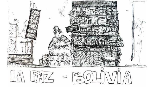El dibiajante en La Paz, Bolivia