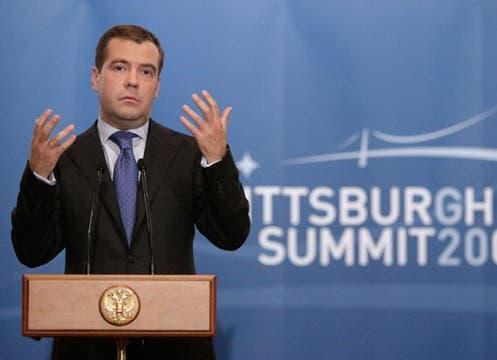 El presidente de Rusia,Dmitry Medvedev, en su exposición ante el G-20.. Foto: EFE