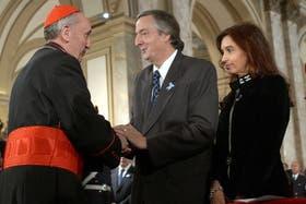 Néstor y Cristina Kirchner durante el Tedeum por el 25 de Mayo en la Catedral Metropolitana en 2006
