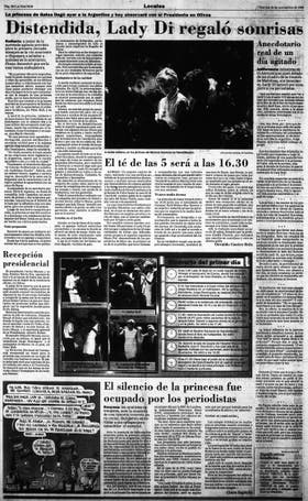 Todos los días de su visita, los medios cubrieron cada paso de Lady Di en la Argentina. Página 20 de LA NACION del 24 de noviembre de 1995