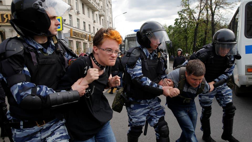 Las protestas coincidieron con el Día de Rusia, un día feriado en el que el país conmemora su independencia, en 1990, antes de la caída de la Unión Soviética. Foto: Reuters