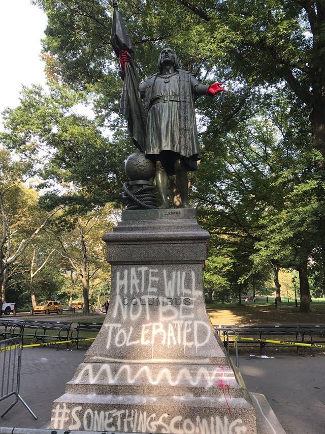 La estatua de Cristobal Colón en el Central Park