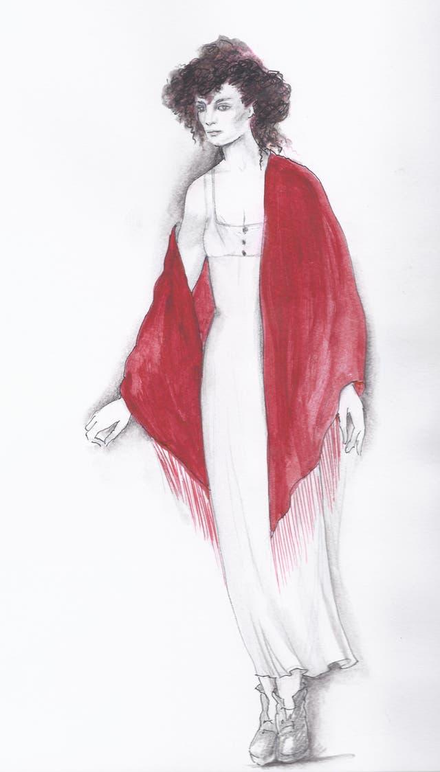 Figurín realizado por Renata Schussheim para las óperas Lady Macbeth de Minsk, de Shostakovich, que se estrenó en enero del 2000 en el Teatro Real, de Madrid