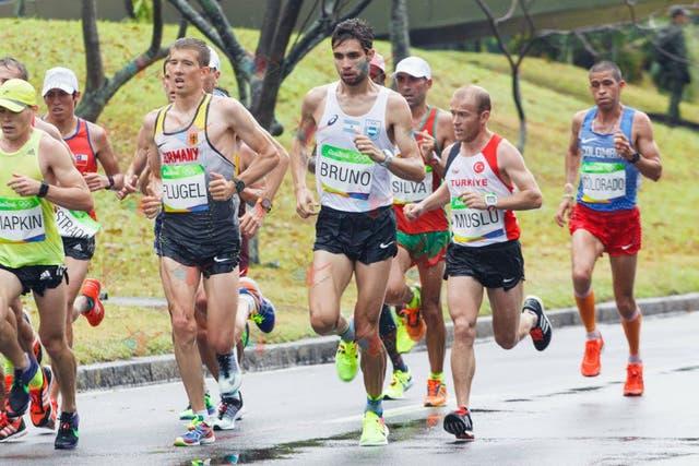 Federico Bruno durante el Maratón olímpico de Río 2016