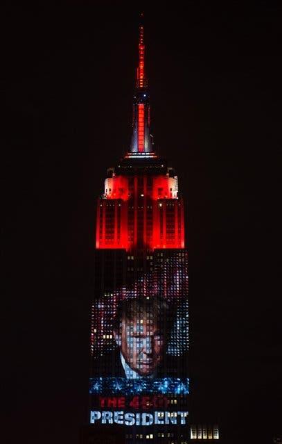 La figura de Trump en el Empire State