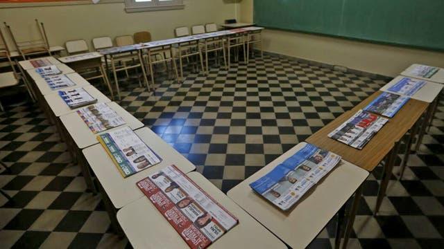 Cuarto oscuro en una escuela de Mar del Plata. Foto: LA NACION / Mauro V. Rizzi
