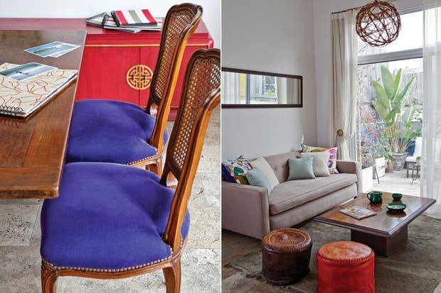 La mesa del comedor es heredada, las sillas Luis XV fueron retapizadas (María Larreta). El mueble chino (Cosas Viejas) también fue restaurado por la dueña de casa..