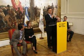 Mauricio Macri, el martes pasado, cuando presentó el decreto para defender la actividad periodística en en el ámbito de la Capital Federal