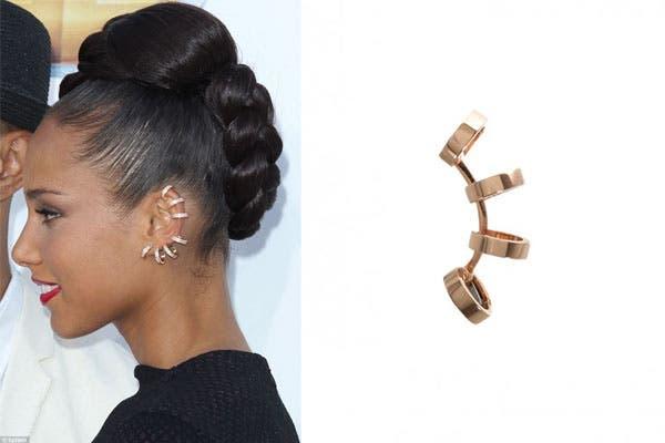 Alicia Keys, con un earcuff que parecen muchos aritos. ¡Pero es uno solo!. Foto: hauteid.com