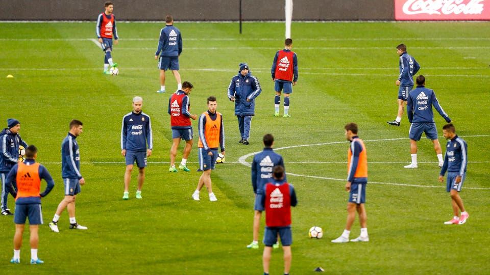 Vista aérea de un entrenamiento de la selección argentina