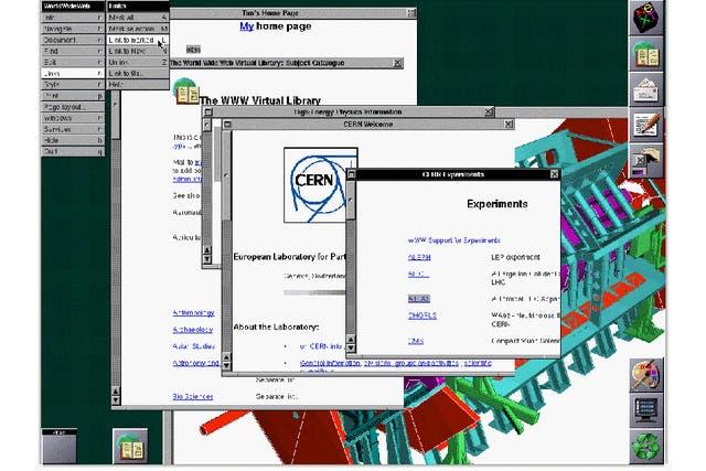 Una captura de pantalla del primer sitio web desde el navegador de una computadora NeXT