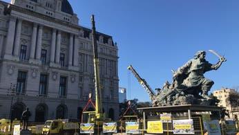 El monumento de Juana Azurduy ya está frente al Centro Cultural Kirchner