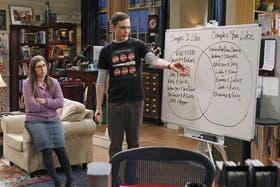 Amy (Bialik) junto a Sheldon (Jim Parsons) y un siempre útil diagrama de Venn