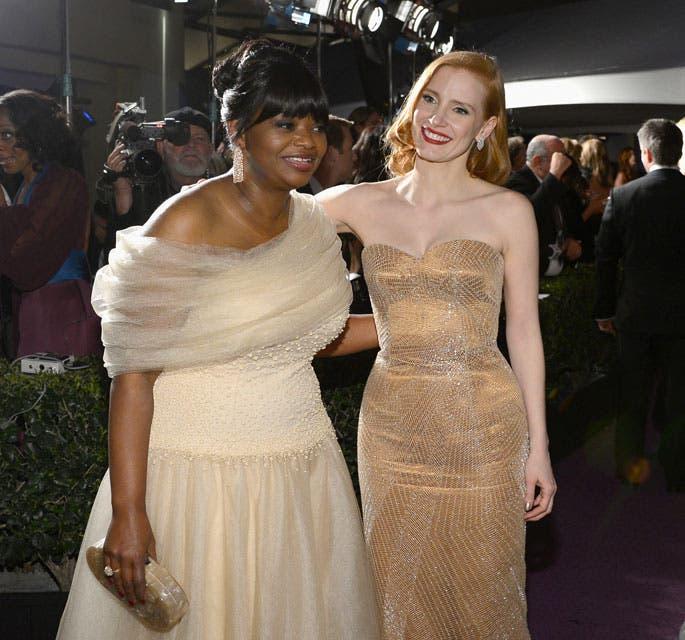 Jessica Chastain y Octavia Spencer fueron compañeras en la película Historias cruzadas. Ambas fueron nominadas a mejor actriz de reparto por este film, aunque triunfó Octavia. Foto: /Getty Images