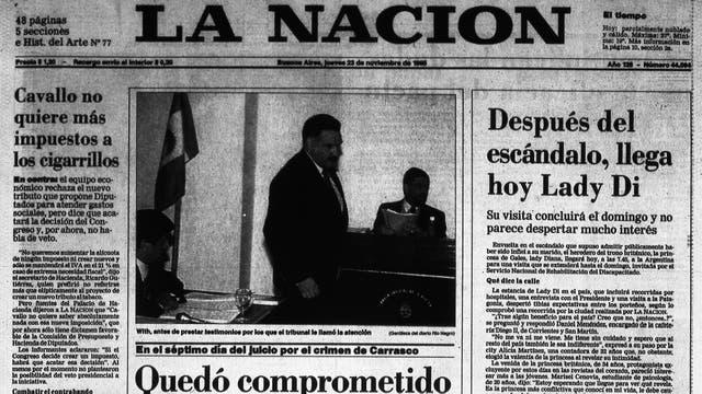 Todos los días de su visita, los medios cubrieron cada paso de Lady Di en la Argentina. Tapa de LA NACION del 23 de noviembre de 1995