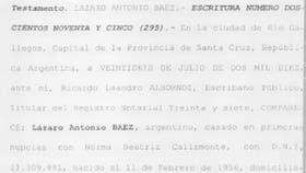 Una captura de parte del testamento de Lázaro Báez