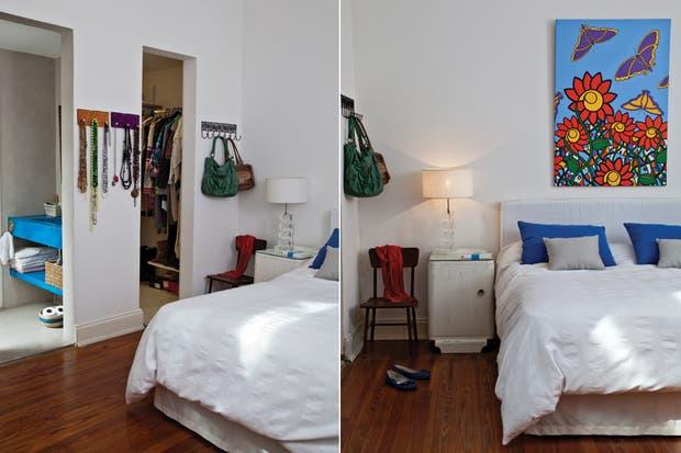 El dormitorio es uno de los lugares más frescos de la vivienda. Las mesitas de luz fueron compradas en el Cottolengo Don Orione y recicladas por la dueña de casa, al igual que los veladores heredados..