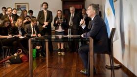 Mauricio Macri durante la conferencia de prensa que brindó luego de la reunión con el Papa