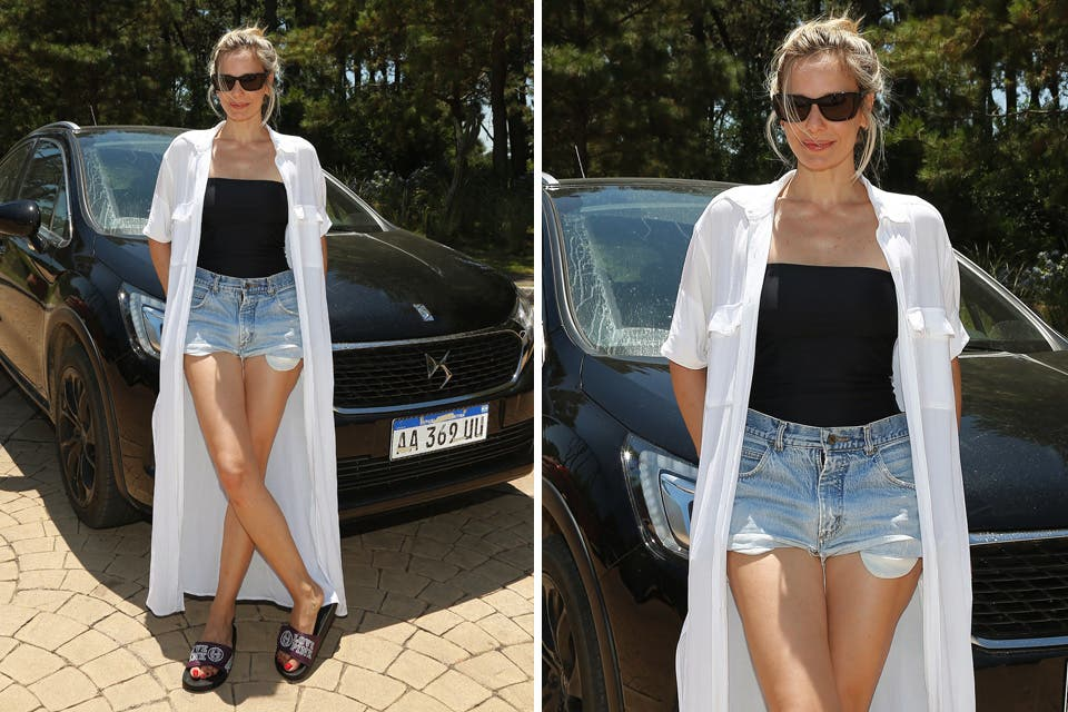 Julieta Cardinali con un look bien veraniego: camisa larga, traje de baño y short de jean. Foto: OHLALÁ! /Gentileza Prensa