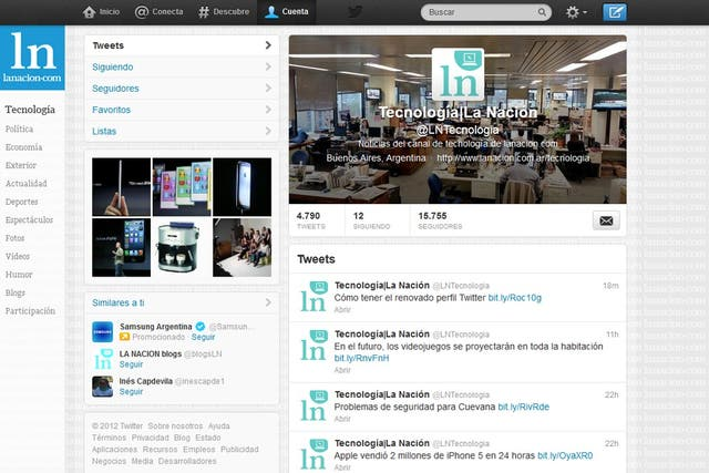 Así se ve el nuevo perfil de usuario en Twitter (en este caso con la cuenta de LA NACION Tecnología, @lntecnologia)
