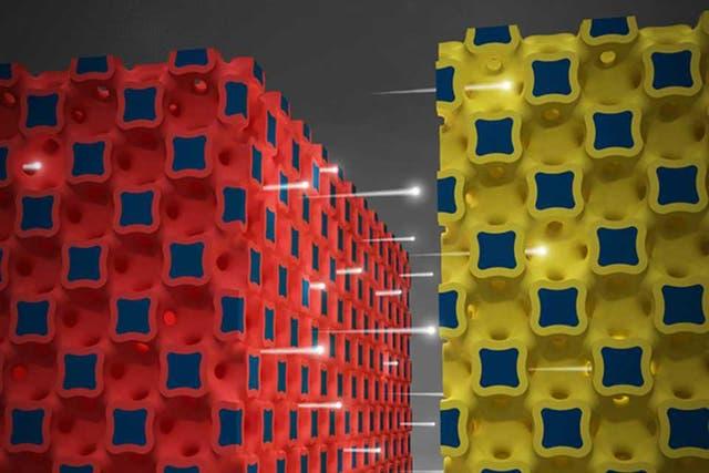 Una representación gráfica de la microbatería desarrollada por los investigadores de la Universidad de Illinois