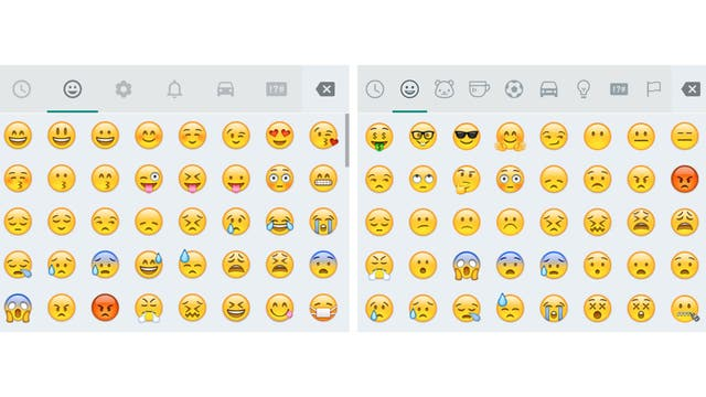 La versión previa y actual de los emojis en WhatsApp, que fueron reorganizados en nuevas categorías