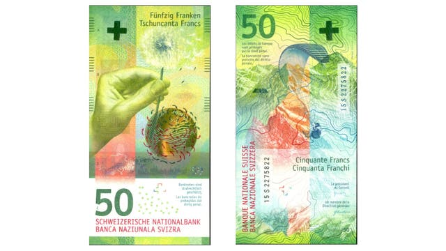 Un billete de 50 francos suizos de 2016, el ganador