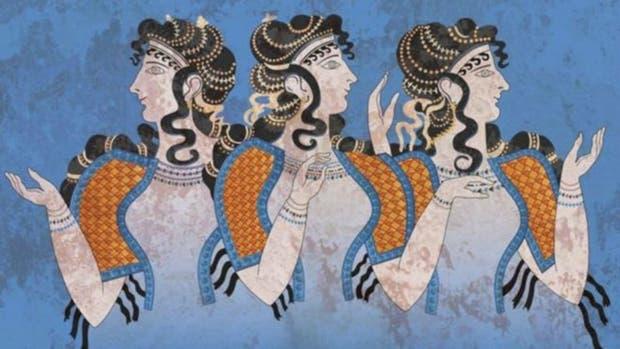 Mujeres de la cultura minoica, en frescos hallados en el palacio de Knossos, en Creta. El nuevo estudio comprueba que los minoicos estás estrechamente relacionados con sus sucesores, los micénicos