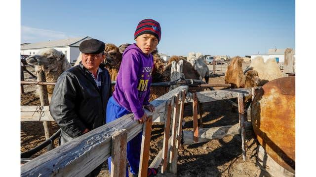 Kenzhibek y su hijo Ernur al lado de sus camellos en la aldea de Zhalanash, cerca del mar de Aral y con una población de 700 personas al suroeste de Kazajstán