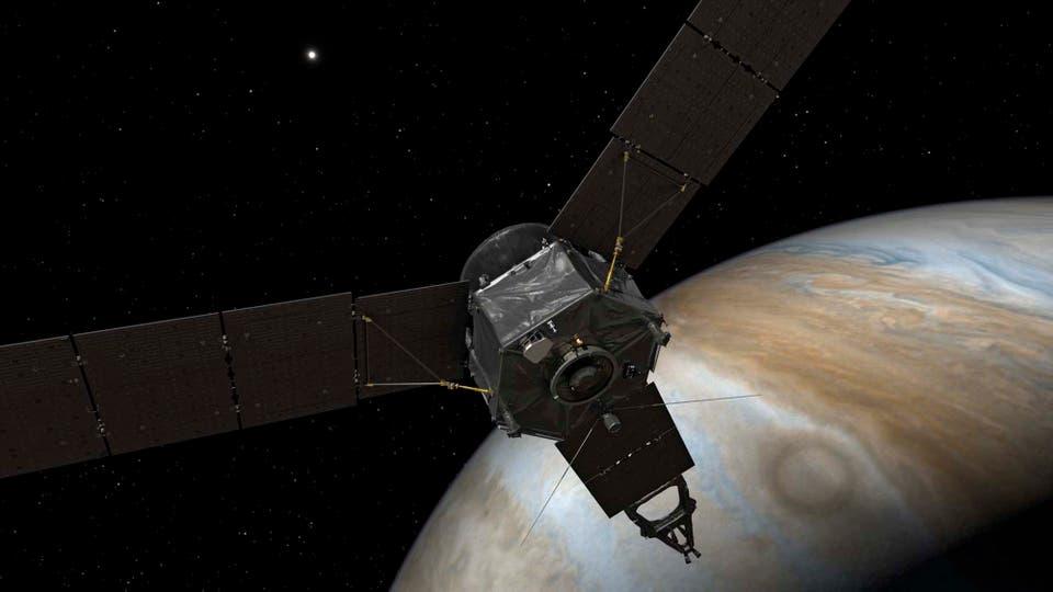 La sonda impulsada por energía solar se incorporó a la órbita de Júpiter, culminando una misión que comenzó en agosto de 2011. Foto: EFE / Nasa/Jpl-Caltech/Handout