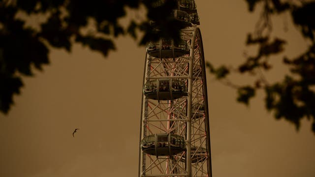 El London Eye con gente en sus cabinas