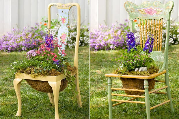 si tens una silla rota pods darle una segunda oportunidad quitale el asiento y cre un sostn con una malla de alambre para ubicar alguna flor o planta