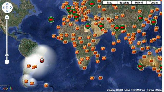 Papá Noel puede ser visto repartiendo regalos por todo el mundo