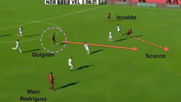 La asistencia de Quignon para Scocco, en el 1-0 ante Vélez