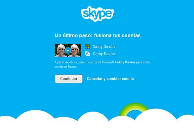Una pantalla del proceso de migración de Windows Live Messenger a Skype