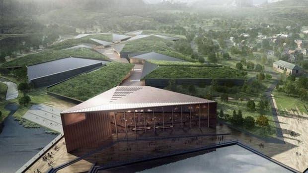 Imagen del centro de datos proyectado, que estaría rodeado de agua por tres lados como medida de seguridad
