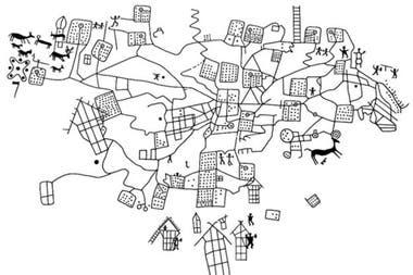 El arqueólogo Alberto Marretta traía consigo este diagrama en el que puedes ver más claramente las figuras talladas hace tres milenios