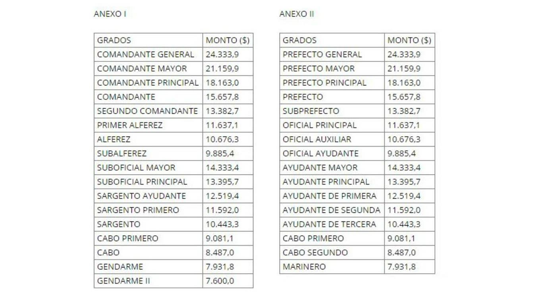 El aumento para gendarmes y prefectos Boletín Oficial