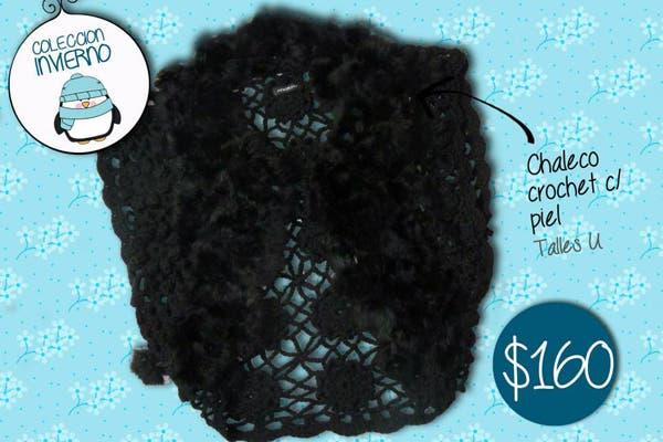 Para usar con una remera básica, chaleco crochet con piel.