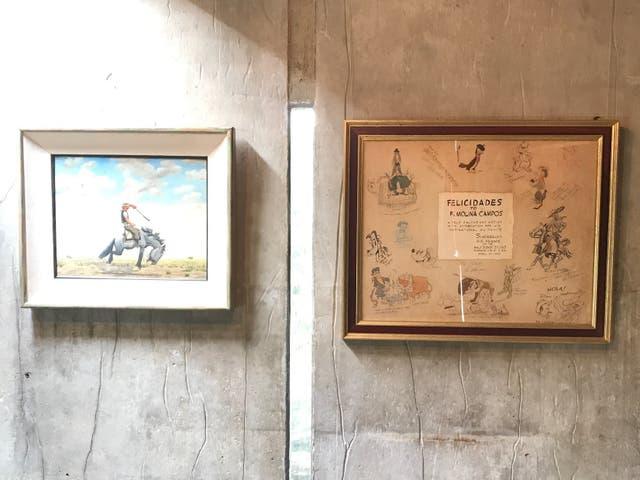 Obra de Florencio Molina Campos y la carta de agradecimiento que le entregó el equipo del Walt Disney Studio