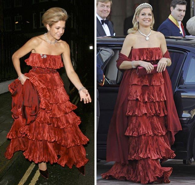 2008 y 2013Repitió ayer el vestido que usó en el cumpleaños 60 del príncipe Carlos