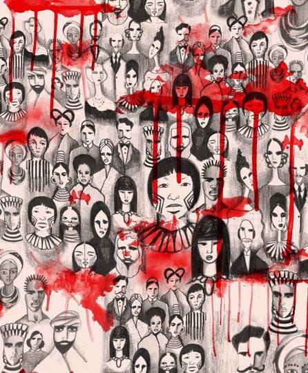 Bocetos que Fraga presentará en su desfile performance