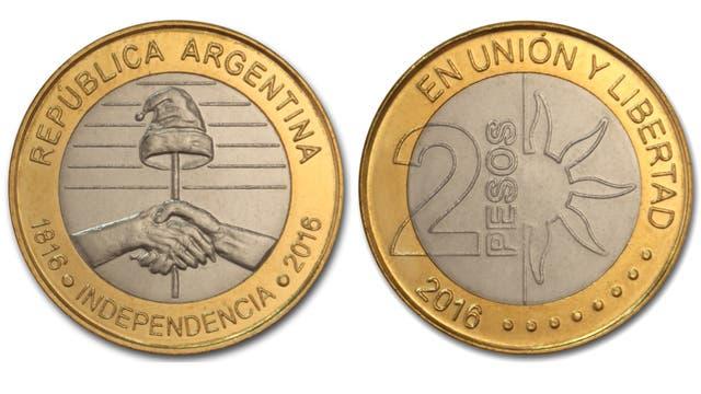 Moneda de 2 pesos conmemorativa del Bicentenario de la Declaración de la Independencia Argentina.